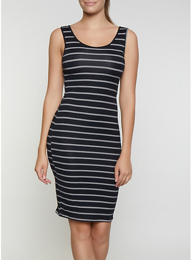 Striped Midi Bodycon Dress,BLACK/WHITE,large