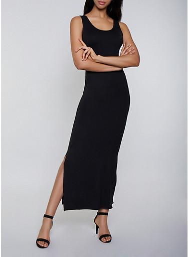 Soft Knit Tank Maxi Dress,BLACK,large