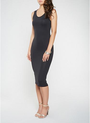 Soft Knit Midi Tank Dress,BLACK,large