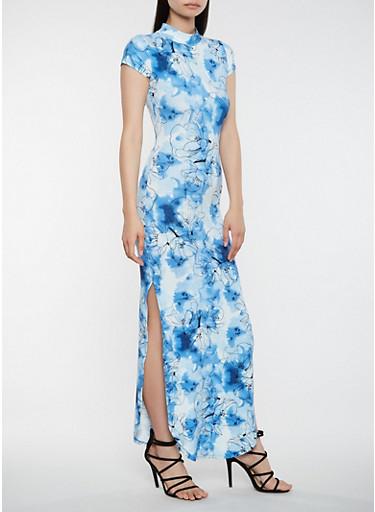 Tie Dye Cut Out Maxi Dress,BLUE,large