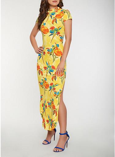 Floral Soft Knit Maxi Dress,MUSTARD,large