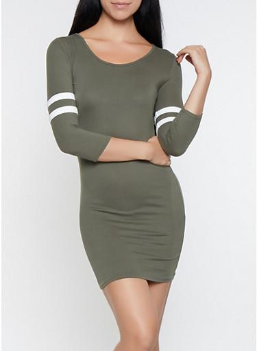 Varsity Stripe Sleeve T Shirt Dress,OLIVE,large