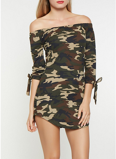 Camo Off the Shoulder Dress,OLIVE,large