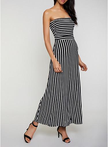 Striped Soft Knit Tube Maxi Dress,BLACK/WHITE,large