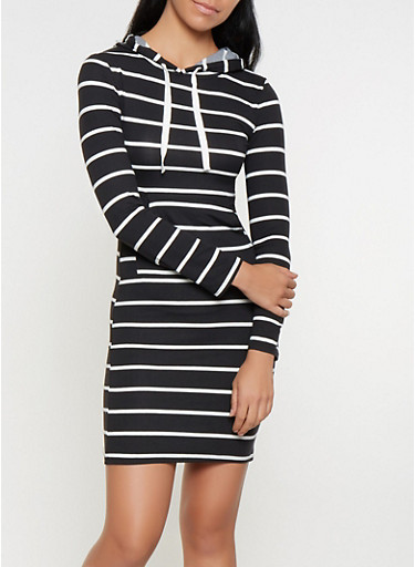 Striped Hooded T Shirt Dress,BLACK/WHITE,large