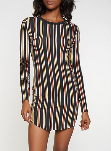 Striped Soft Long Sleeve Dress,BLACK,large