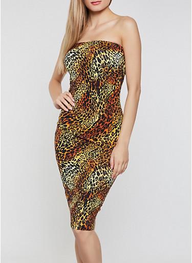 Cheetah Print Tube Dress,RUST,large