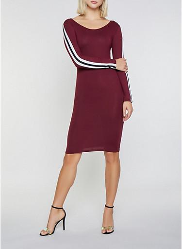 Side Stripe Bodycon Dress,WINE,large