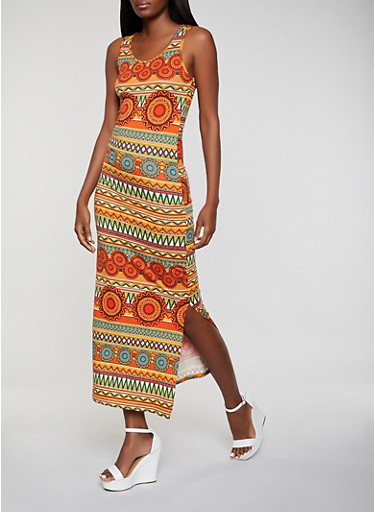 Tribal Print Tank Maxi Dress,RUST,large