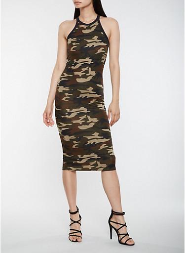 Camo Print Bodycon Tank Dress,OLIVE,large