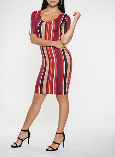 Vertical Stripe Bodycon Dress,BLUE,large