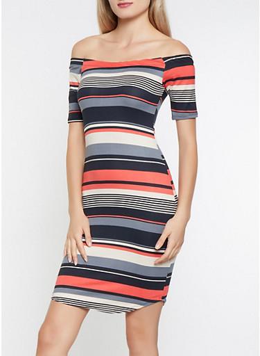Striped Off the Shoulder Dress,BLACK,large