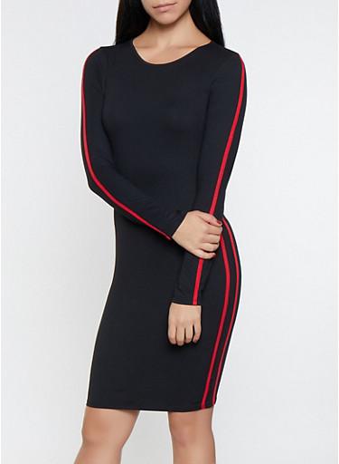 Varsity Stripe Detail Bodycon Dress,BLACK,large