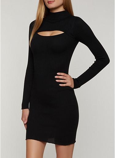 Keyhole Sweater Dress,BLACK,large