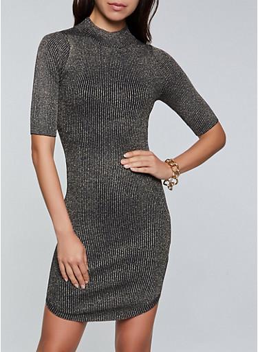 Lurex Ribbed Knit Mock Neck Dress,BLACK,large