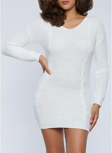 Lace Up Back Mini Sweater Dress,IVORY,large