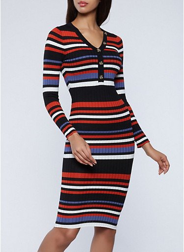 Button Detail Striped Sweater Dress,BLACK,large