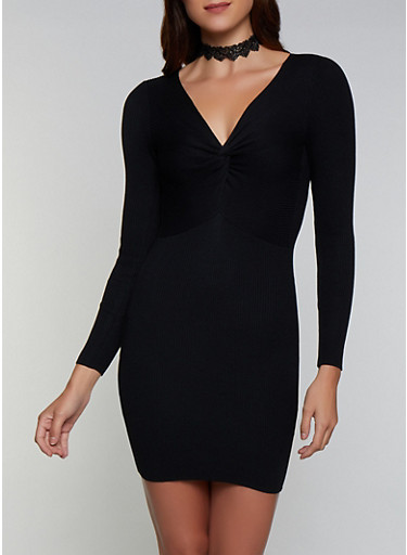 Ribbed Twist Front Sweater Dress,BLACK,large
