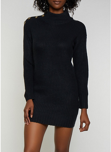 Button Detail Sweater Dress,BLACK,large