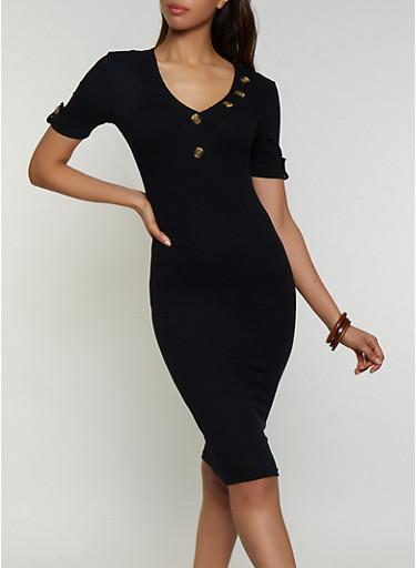 Button Neck Detail Ribbed Dress,BLACK,large