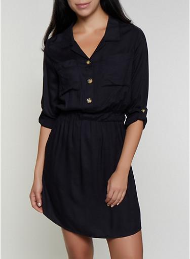 Tabbed Sleeve Shirt Dress,BLACK,large