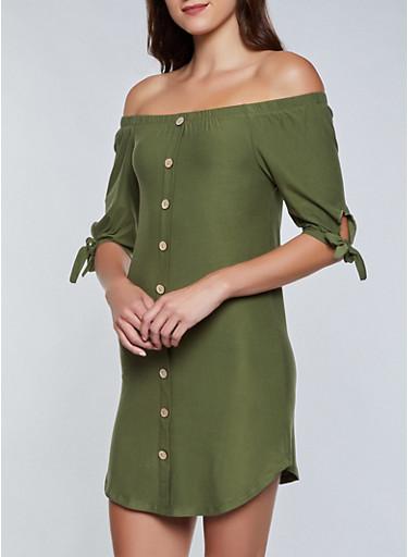 Soft Knit Button Off the Shoulder Dress,OLIVE,large