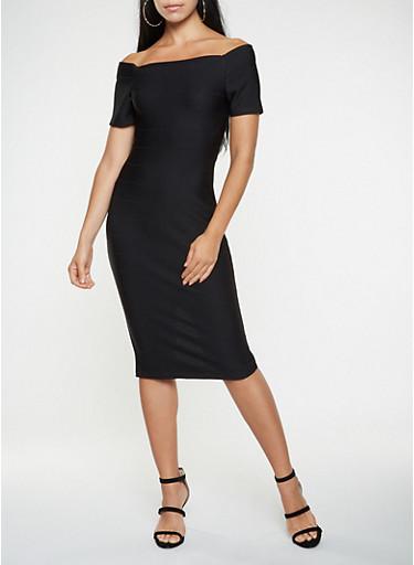 Off the Shoulder Bandage Dress,BLACK,large