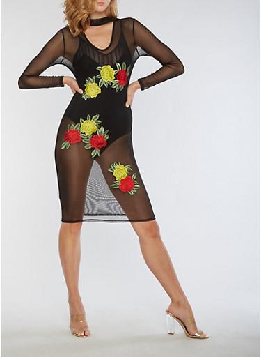 Mesh Floral Applique Bodycon Dress,BLACK,large