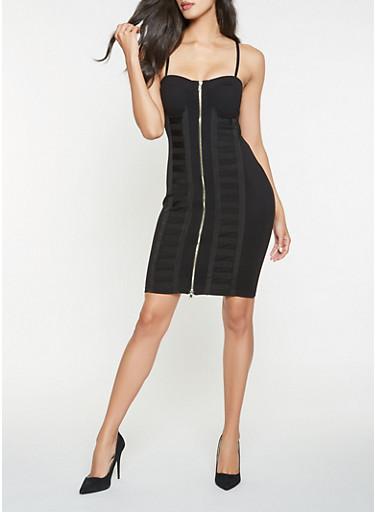 Zip Up Bodycon Dress,BLACK,large