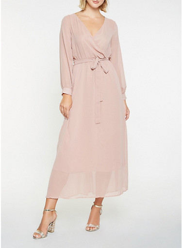 Faux Wrap Maxi Dress,MAUVE,large