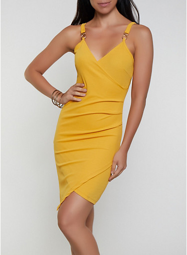 Faux Wrap Ruched Bodycon Dress,MUSTARD,large