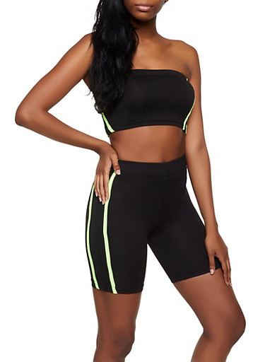 Varsity Stripe Tube Top and Bike Shorts Set,BLACK,large