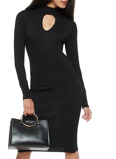 Keyhole Mock Neck Sweater,BLACK,large
