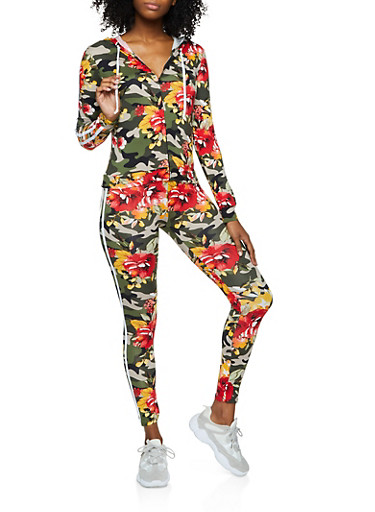 Floral Camo Hooded Top and Leggings Set,OLIVE,large