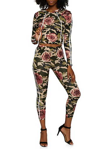 Floral Camo Hooded Top and Leggings,OLIVE,large