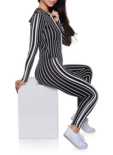 Striped Soft Knit Hooded Top and Leggings,BLACK/WHITE,large