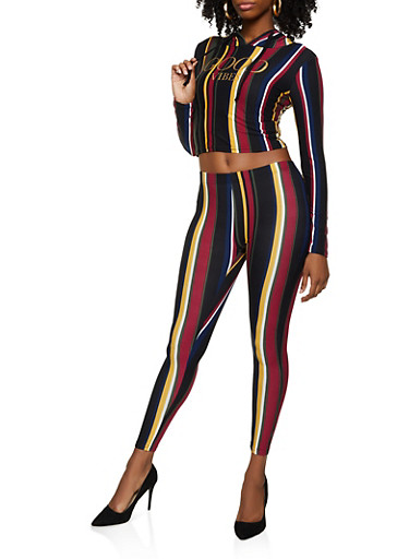 Striped Good Vibes Graphic Top and Leggings,BLACK,large