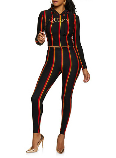 Striped Queen Hooded Top and Leggings Set,BLACK,large