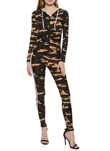 Camo Hooded Zip Top and Leggings Set,OLIVE,large