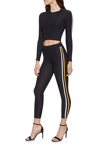Varsity Stripe Hooded Top and Leggings Set,BLACK/WHITE,large