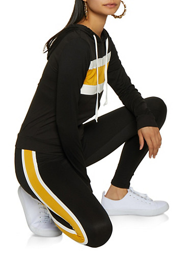 Color Block Zip Top and Leggings Set,BLACK/WHITE,large