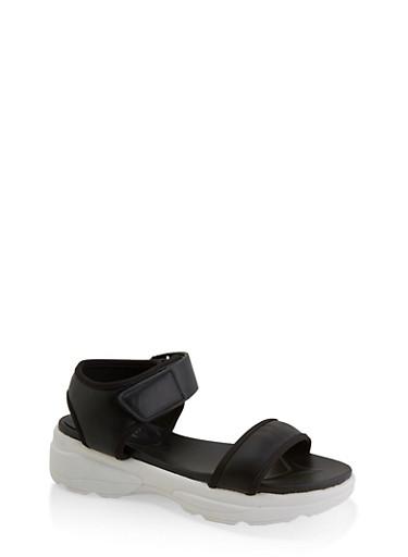 Sporty Velcro Ankle Strap Platform Sandals,BLACK,large