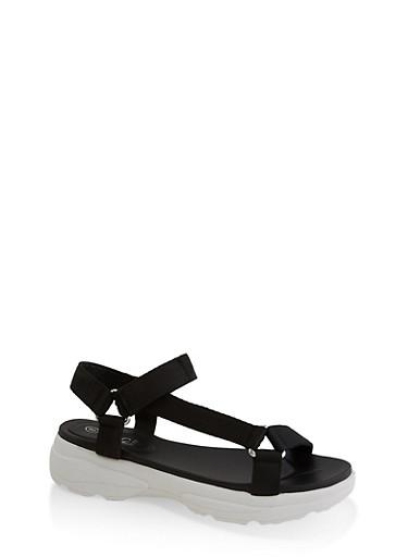 Asymmetrical Strap Sporty Platform Sandals,BLACK,large