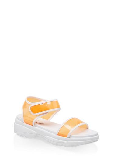 Sporty Neon Ankle Strap Sandals,NEON ORANGE,large