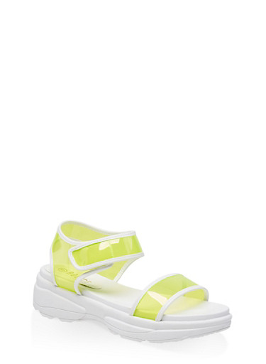 Sporty Neon Ankle Strap Sandals,NEON YELLOW,large
