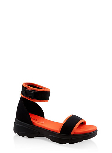 Neon Sporty Buckle Platform Sandals,NEON ORANGE,large