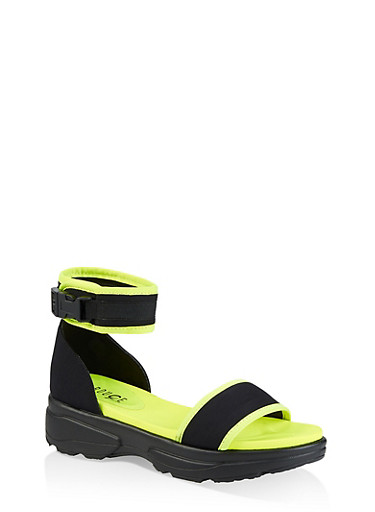 Neon Sporty Buckle Platform Sandals,NEON YELLOW,large