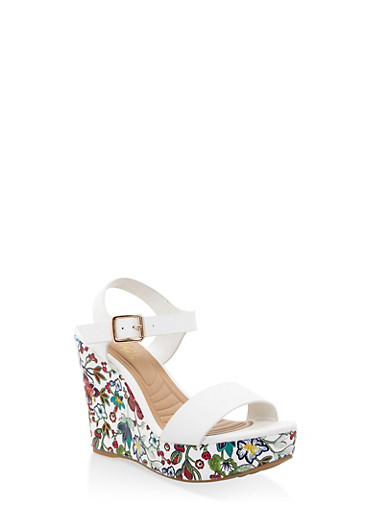 Floral Wedge Sandals,WHITE,large