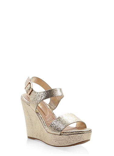 Floral Wedge Sandals,GOLD,large