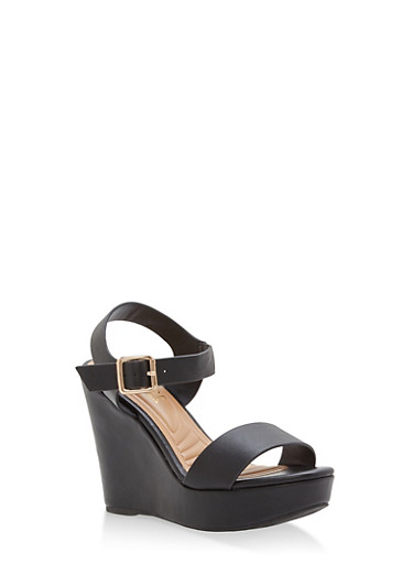 Faux Leather Ankle Strap Wedge Sandals,BLACK,large